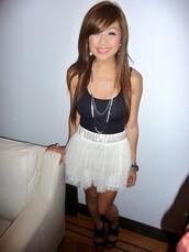 tutu,mini,pleated,white skirt,skirt
