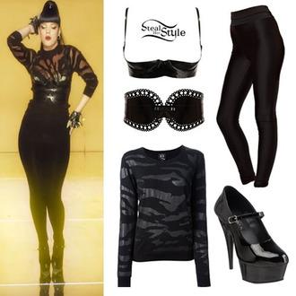 shirt black sheer shirt black bikini black leggings black leather bralette studded spikes studded gloves lily allen