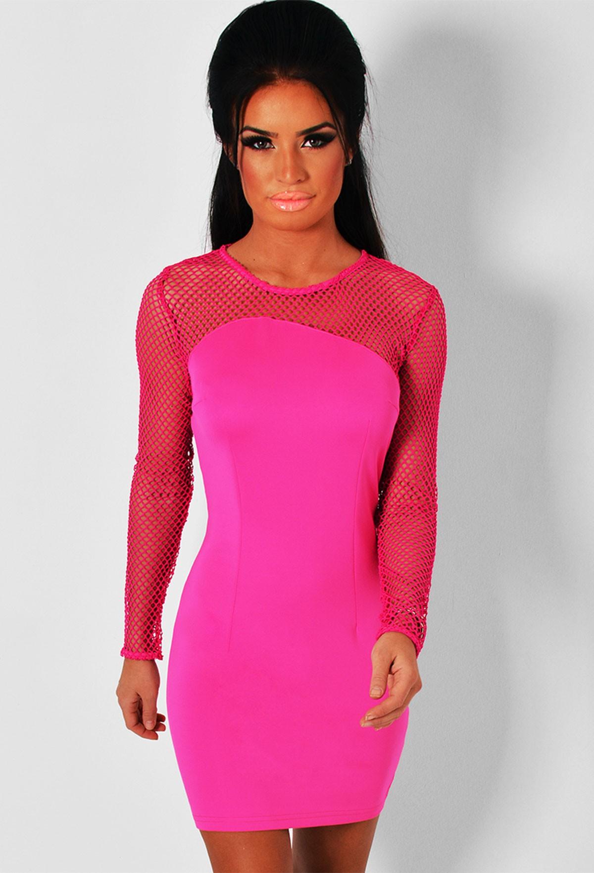 Petal Pink Fishnet Mesh Detail Midi Dress | Pink Boutique