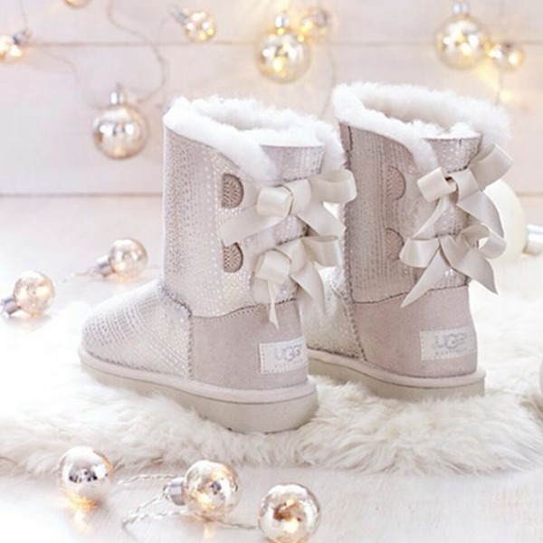 Shoes Ugg Boots Silver Boots Style Grey Bows White