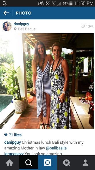 dress maxi midi white stripes blue highlow