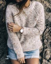 sweater,tumblr,beige sweater,skirt,mini skirt,denim skirt,frayed denim skirt,gold watch,watch,ring,gold ring,sweater weather,moon crescent,crescent pendant,jewels,jewelry,necklace,silver,silver necklace,horn