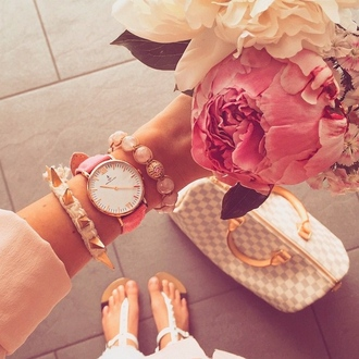 jewels watch pink gold accessories accessory bracelets bag pastel flowers white sandals jewelry nude