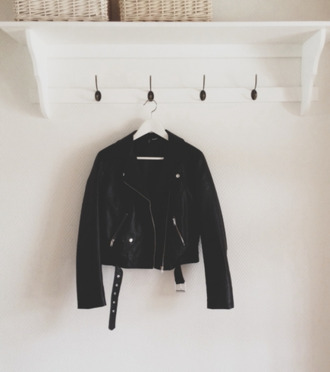 jacket leather jacket leather perfecto black belted belt rock