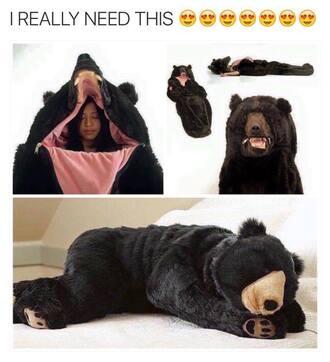 pajamas bear big onesie costume warm blanket home accessory sleeping bag brown