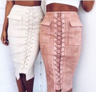 skirt pink midi skirt white lovely instagram fashion fashioninspo inspiration pretty khaki laced laced skirt laced up skirt style beautiful
