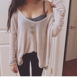 sweater jewels tank top hipster fashion cute beige oversized sweater sweet loose fit sweater blue jumper knitted sweater cream beach boho bohemian girl tanned studded baggy cropped