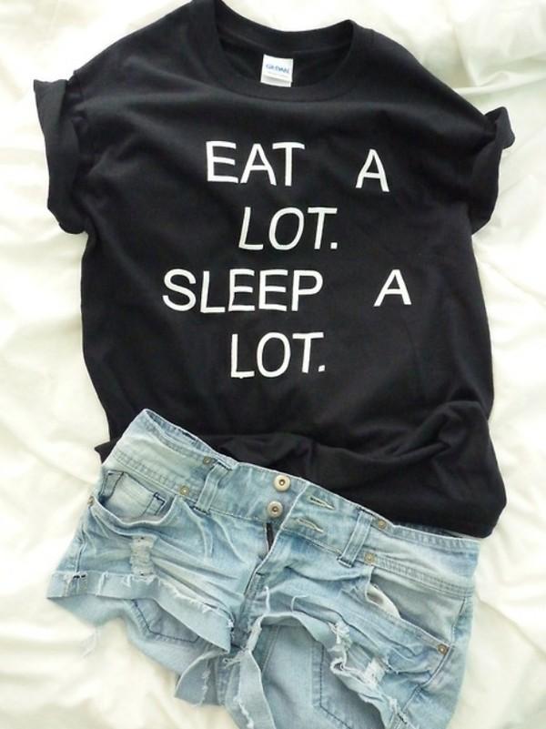 shirt eat sleep t-shirt black eat a lot sleep a lot shorts