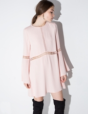 dress,peach bell sleeve dress,peach dress,boho dress,see by chloe,bell sleeve dress,bell sleeves,cute dress,chloe