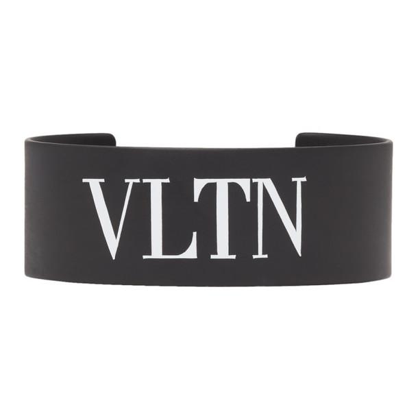 Valentino Black Valentino Garavani Metal 'VLTN' Cuff Bracelet