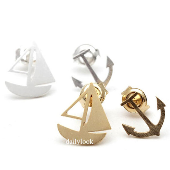 anchor jewels anchor earrings anchor studs anchor jewelry summer jewelry marine sailing boat summer earrings