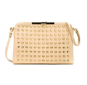 New Sold Out Zara Rockstud Beige Pink 100 Leather Bag Shoulder Strap Gold Studs | eBay