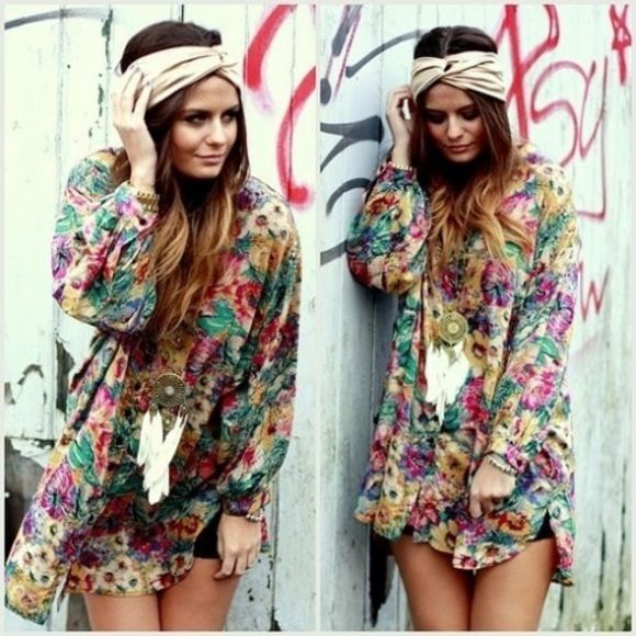 dress floral boho hippe chic clothes tunic hippie chic hat tank top vintage soul beauty flower power flowy
