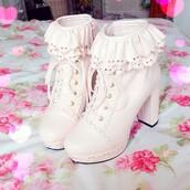 booties,boots,heels,kawaii shoes,kawaii boots,bows,bow shoes,cream high heels,cream,creme,cute high heels,dolly,dolly shoes,princess,lolita,lolita shoes,lolita boots,kawaii,platform lace up boots,shoes,pink,frill,heel,heel boots,ulzzan,asian fashion,lace up boots,cute,girly,cute ulzzang,ulzzang style