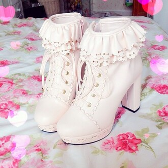 booties boots heels kawaii shoes kawaii boots bows bow shoes cream high heels cream creme cute high heels dolly dolly shoes princess lolita lolita fashion lolita shoes lolita boots sweet lolita kawaii platform lace up boots