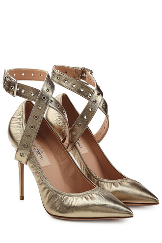 cross metallic pumps leather silver shoes