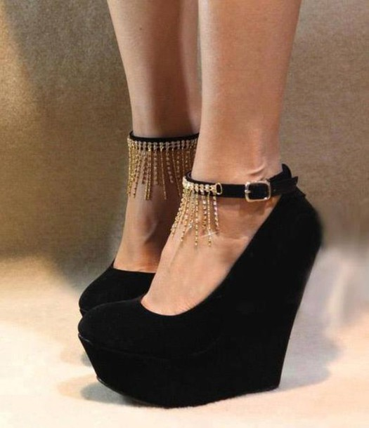 Shoes: wedges, straps, strap wedges, heels, black wedges, shoes ...