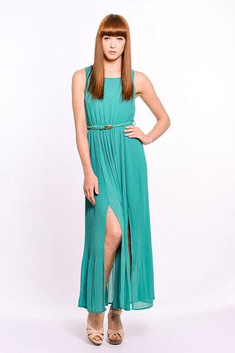 Womens Lorraine Side Split Pleated Maxi Dress in Jade | Pop Couture