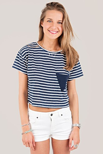 clothes crop tops stripes blue and white striped subdued