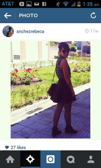 black skirt streetstyle streetwear top grey style boots