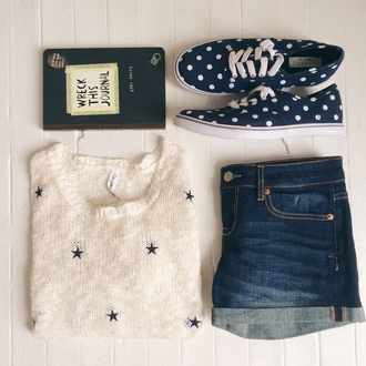 sweater jeans shorts shoes summer outfits wreck this journal whte navy cute