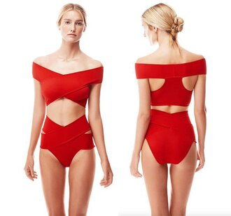 swimwear mynystyle bikini style summer red off the shoulder girl girly girly wishlist