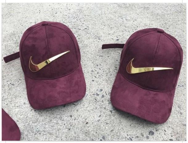 c7392c5b hat, nike, burgundy, gold, cute, chic - Wheretoget