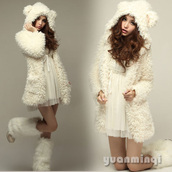 sweater,fluffy,dress,white,white dress,clothes,boots