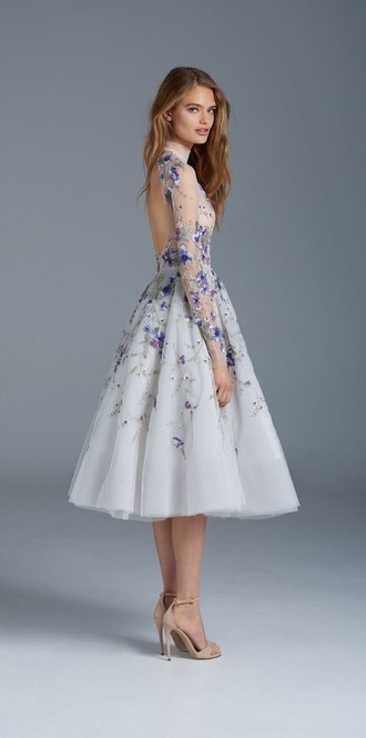 dress floral cream tulle skirt long purple prom see through beautiful choker necklace floral dress prom dress sheer light blue calf length dress