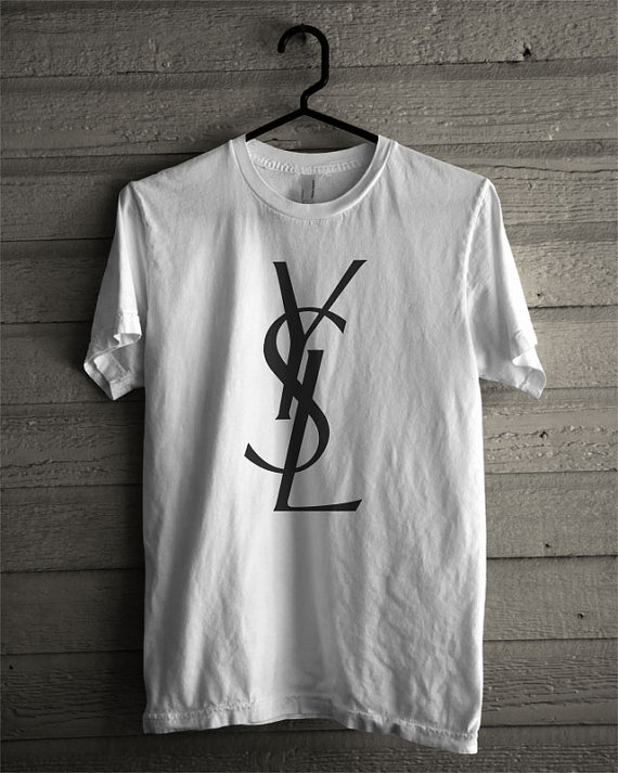 ysl yves saint laurent inspired logo tee shirt par imadehome. Black Bedroom Furniture Sets. Home Design Ideas