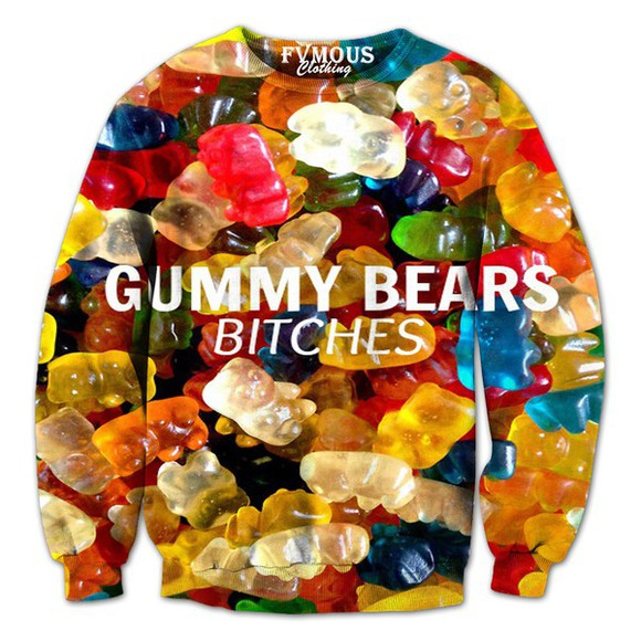 crewneck fvmous clothing colorful dope gummy bears bitches cool sweatshirt cool sweaters gummies candy