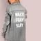 Oversized distressed wake pray slay graphic denim jacket grey -shein(sheinside)