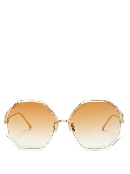 Linda Farrow - Oversized Hexagonal Frame Sunglasses - Womens - Dark Orange