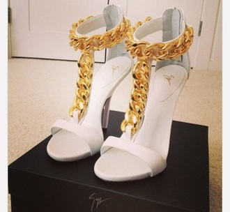 shoes simple white shoes high heels old chain designer