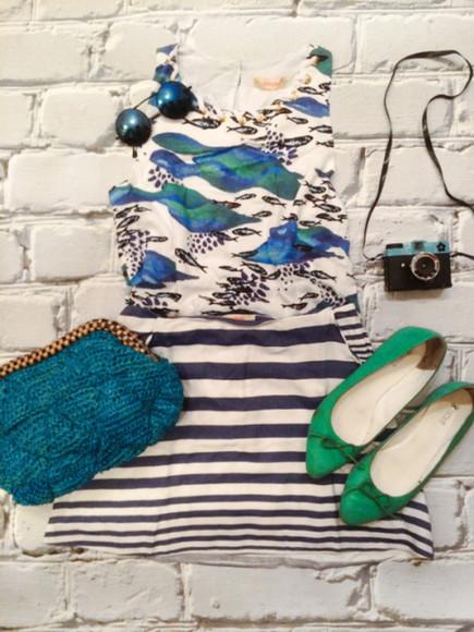 blogger ballet flats top sunglasses fashion coolture stripes clutch knitwear