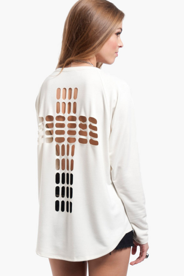 Cross Cutout Sweater $21