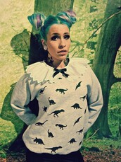 sweater,jumper,Dinosaur print,dinosaur,collar,bow