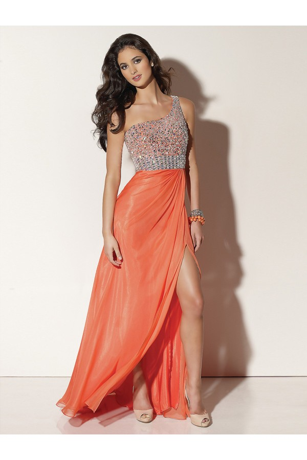 Graceful A-line One Shoulder Chiffon Orange Long Prom Dresses/Evening Dress With Beading