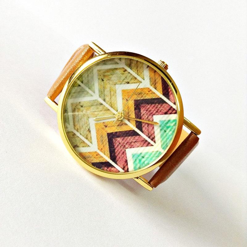 Original Freeforme Wood Chevron Watch, Vintage Style Leather Watch, Women Watches, Unisex Watch, Boyfriend Watch, Tan, White,