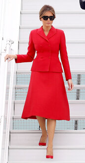 skirt,blazer,red dress,red,melania trump,first lady outfits,two-piece,sunglasses,office outfits,pumps,shoes