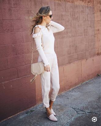 pants white top nude bag tumblr white pants top shoes mules bag