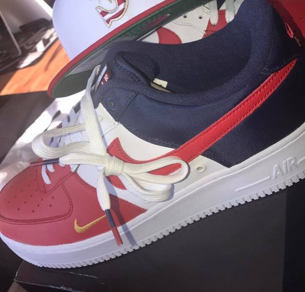 shoes blue red white nike air force 1 low top sneakers