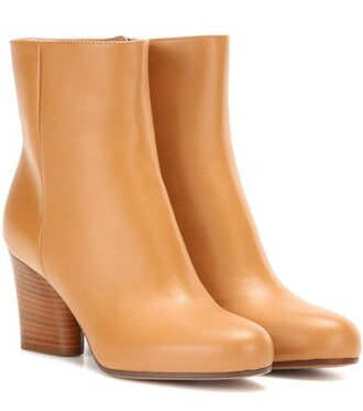 leather ankle boots boots ankle boots leather beige shoes