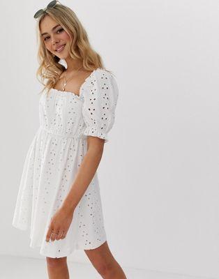 ASOS DESIGN milkmaid broderie mini dress at asos.com
