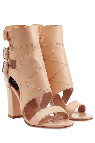 heel sandals leather sandals leather beige shoes