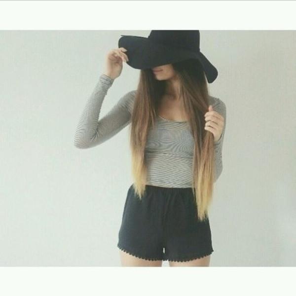 shorts crop tops tumblr summer summer outfits shirt hat black blouse skirt t-shirt top