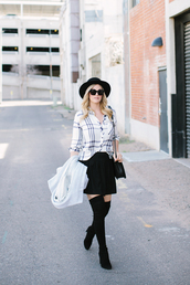 a little dash of darling,blogger,checkered,thigh high boots,white shirt,top,skirt,shoes,hat,socks,bag,coat