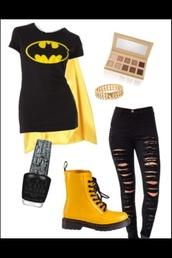 shirt,batman,hero,yello cape,cape,batman cape,black and yellow,black,ripped,skinny,jeans,yellow,DrMartens,pants