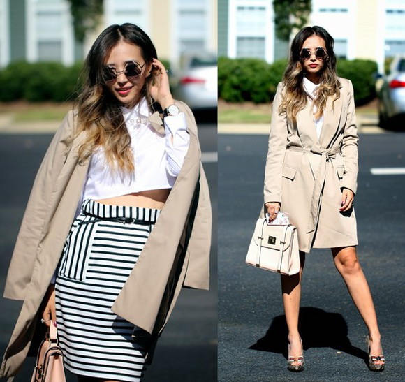 trench coat blogger bag queen horsfall white blouse stripes sunglasses