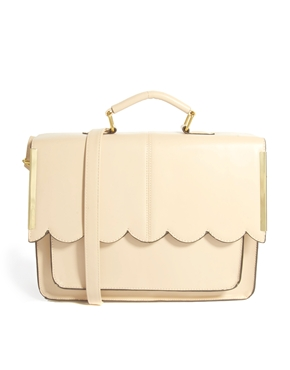 ASOS | ASOS Satchel Bag With Scallop Bar Detail at ASOS